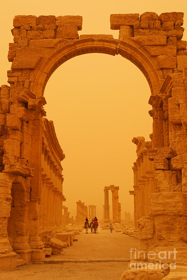 Palmyra Photograph - The Monumental Arch At Palmyra Syria In The Light After A Sandstorm by Robert Preston