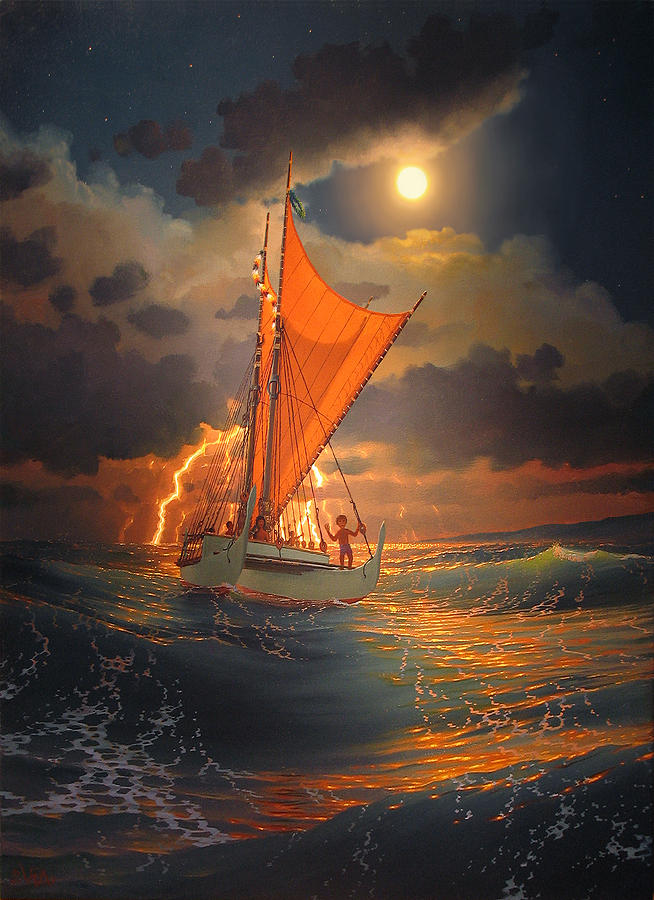 Seascape Painting - The Mookiha O Piilani Sailing In Front Of The Storm In The Moonlight by Loren Adams