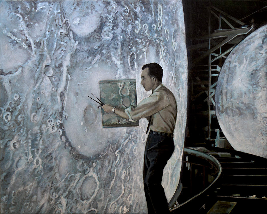 Nasa Painting - The Moon Builders - Lunar Orbit And Let-down Approach Simulator.  by Simon Kregar