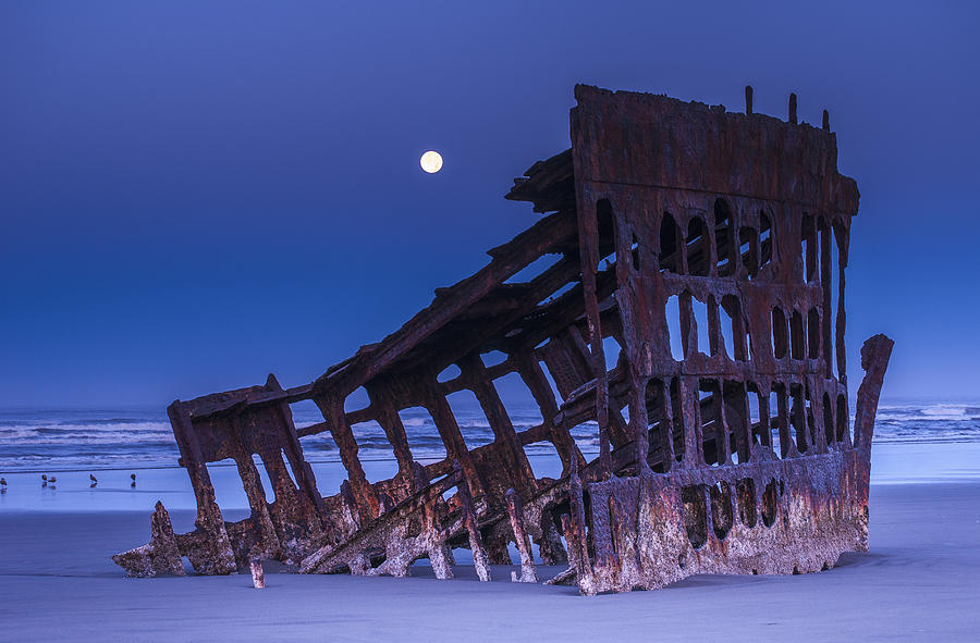 Horizontal Photograph - The Moon Sets Over The Wreck by Robert L. Potts