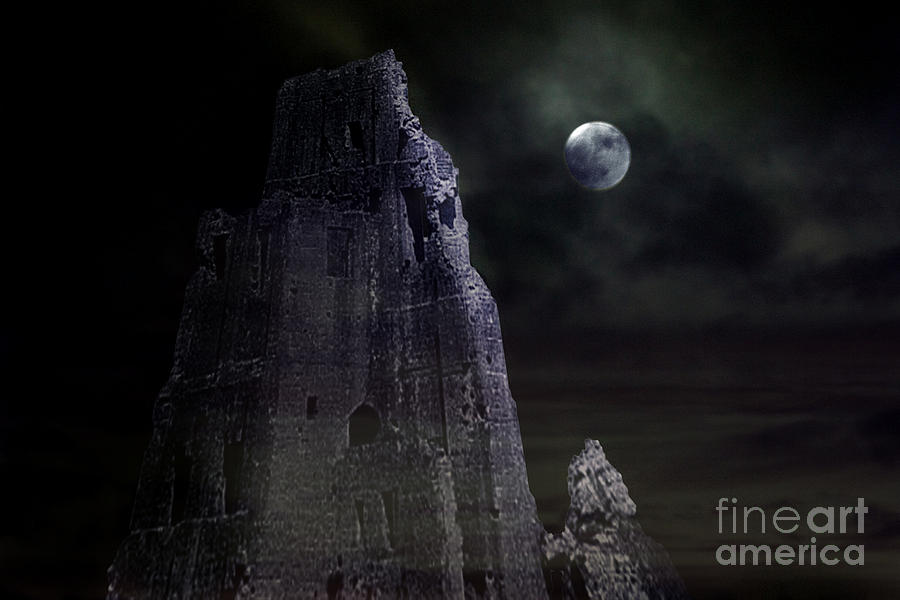 Castle Photograph - The Moonshine On The Castle by Terri Waters
