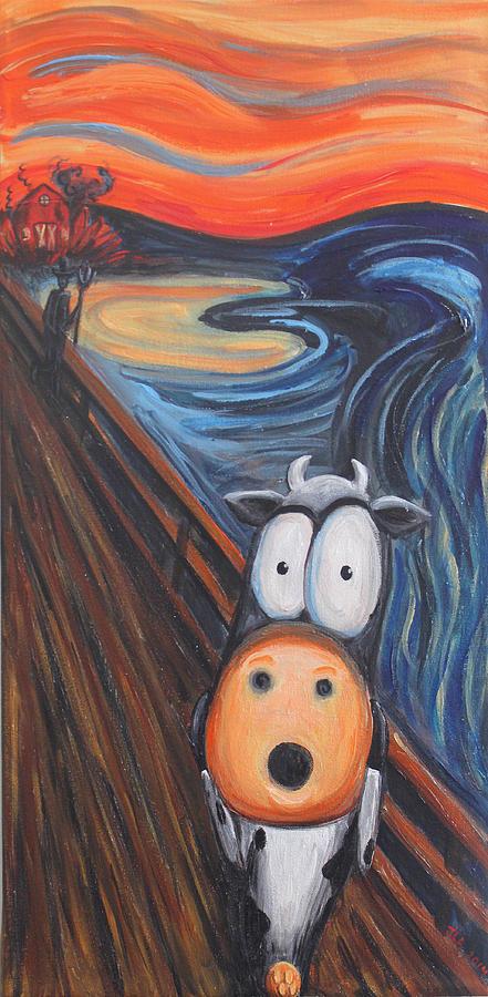 Cow Painting - The Moooooo by Jennifer Alvarez