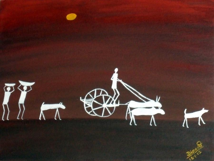 Morning Painting - The Morning In Warali Village by Dipali Deshpande