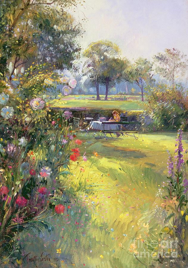 Writing; Garden Painting - The Morning Letter by Timothy  Easton
