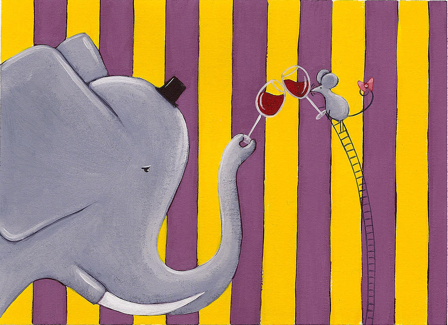 Mouse Painting - The Mouse And The Elephant by Christy Beckwith