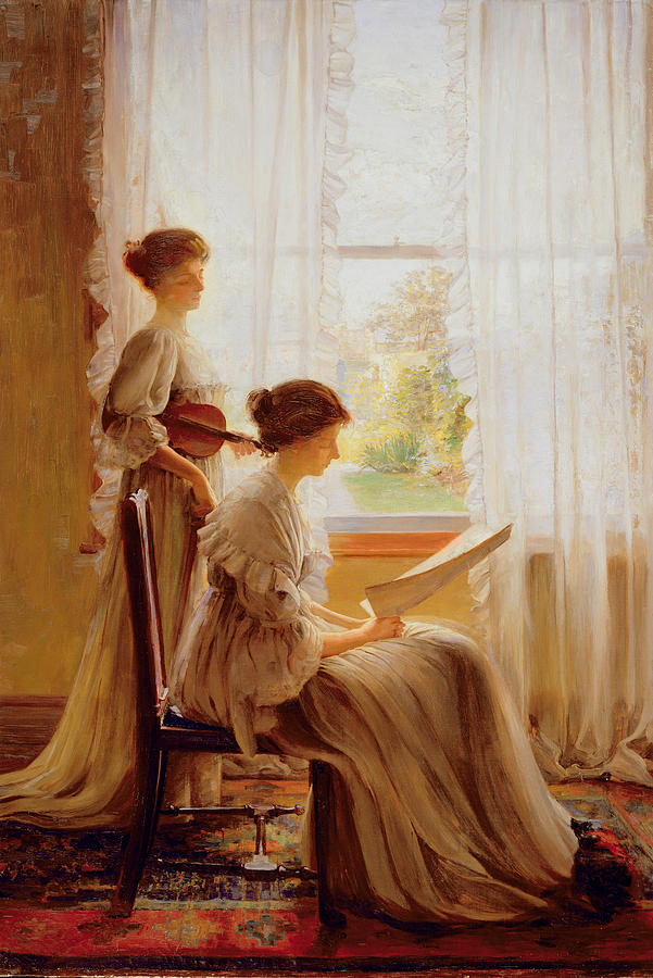 Violinist Painting - The Music Lesson, C.1890 by American School