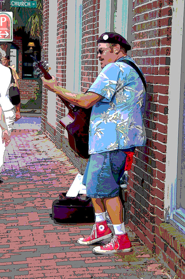 Music Photograph - The Music Man And His Red Shoes by Suzanne Gaff