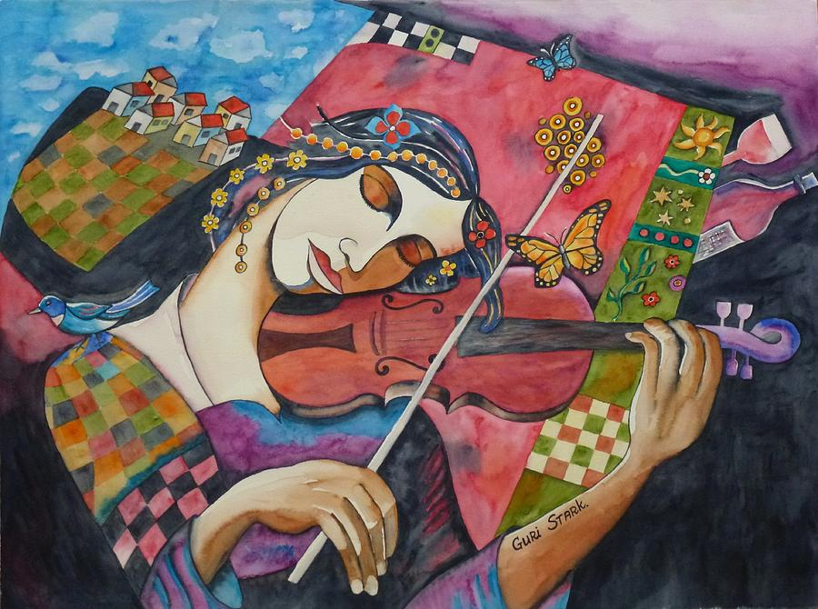 Watercolors Painting - The Music Of Her Mind by Guri Stark