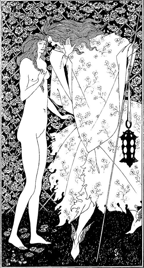 Aubrey Beardsley Drawing - The Mysterious Rose Garden by