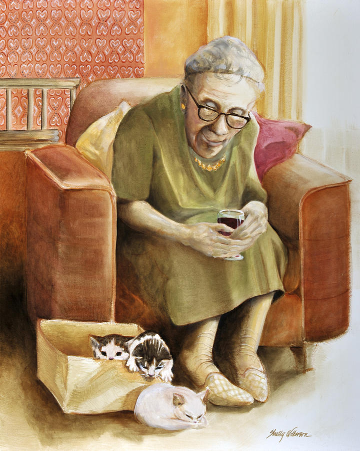 Kittens Painting - The Nanny by Shelly Wilkerson