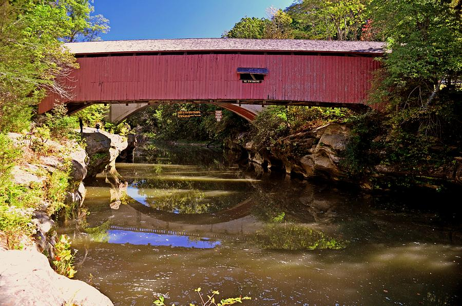 Covered Bridge Photograph - The Narrows Covered Bridge 1 by Marty Koch