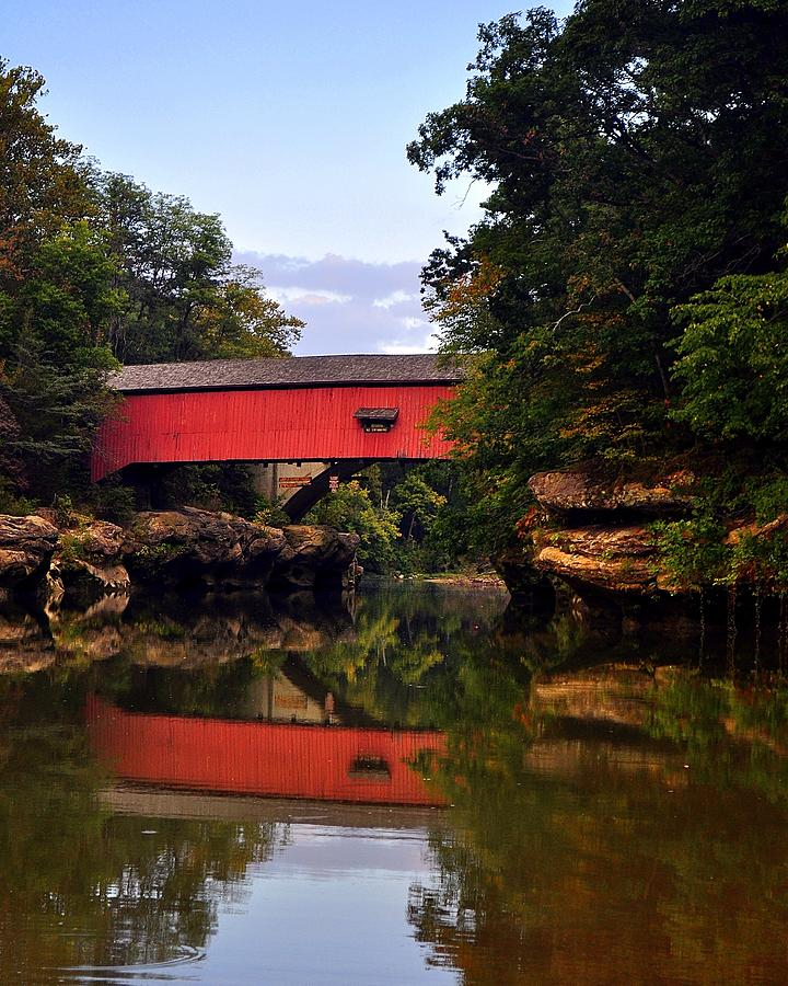 Covered Bridge Photograph - The Narrows Covered Bridge 5 by Marty Koch
