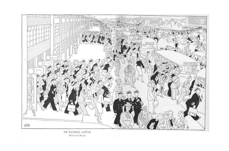 The National Capital  Homeward Bound Drawing by Gluyas Williams