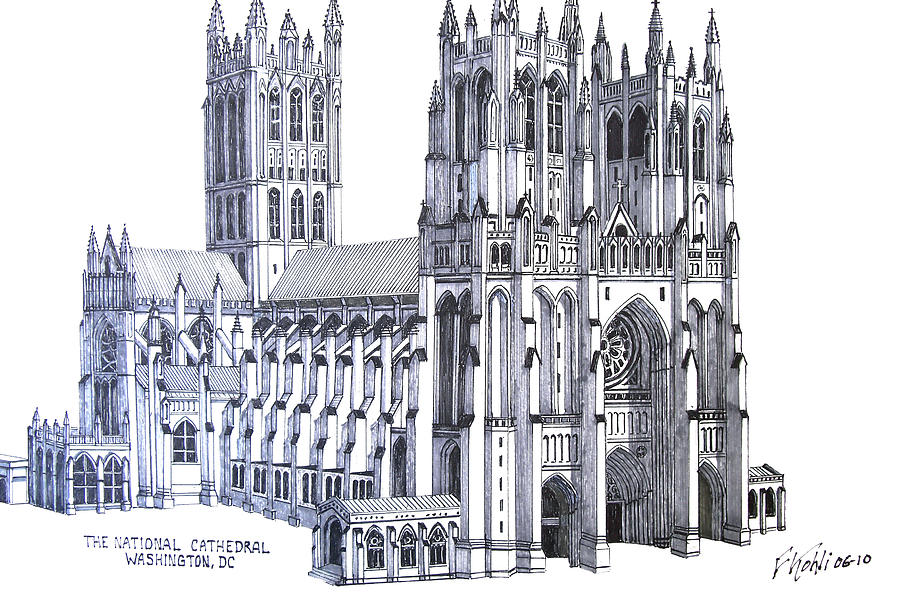 Pen And Ink Drawings Drawing - The National Cathedral by Frederic Kohli