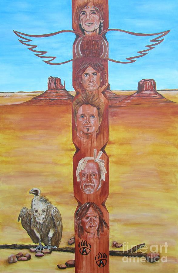 Aerosmith Painting - The Native Rockband by Jeepee Aero