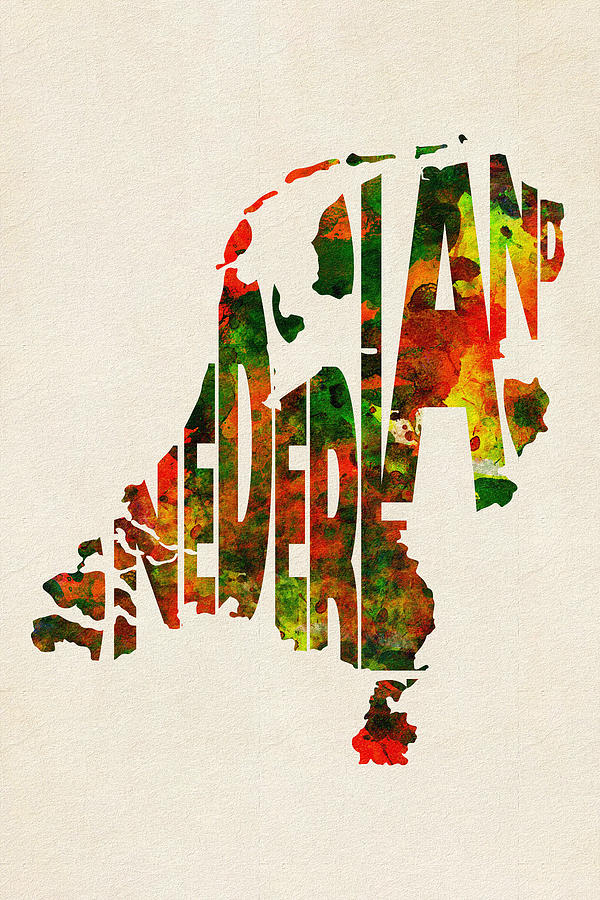 The Netherlands Digital Art - The Netherlands Typographic Watercolor Map by Inspirowl Design