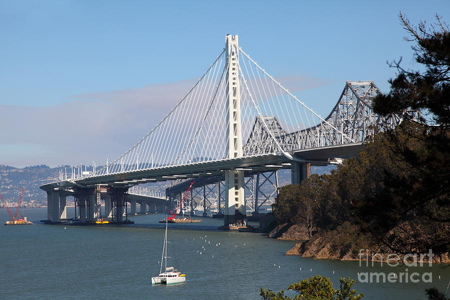 San Francisco Photograph - The New And The Old Bay Bridge San Francisco Oakland California 5D25405 by Wingsdomain Art and Photography