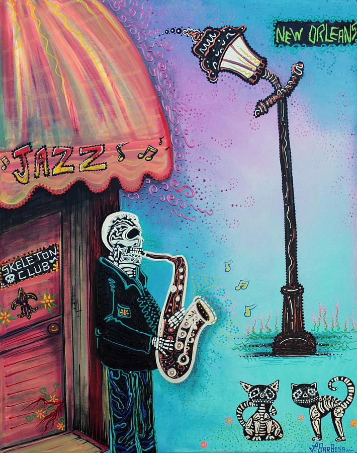 Skeleton Painting - The New Orleans Skeleton Club by Laura Barbosa