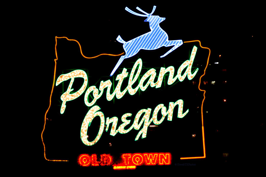 Made In Oregon Photograph - The New Portland Oregon Sign At Night With White Lights by DerekTXFactor Creative
