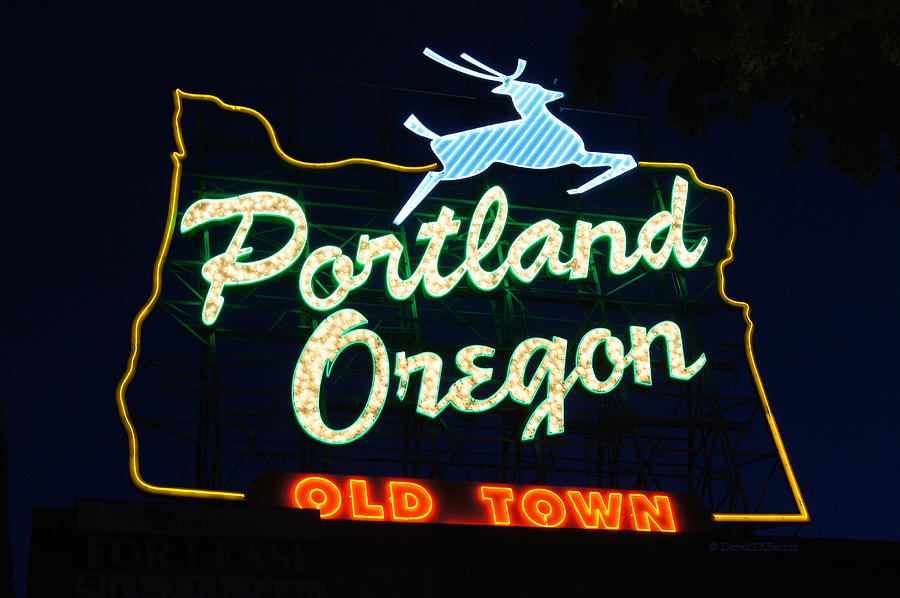 Neon Sign Photograph - The New Portland Oregon Sign by DerekTXFactor Creative