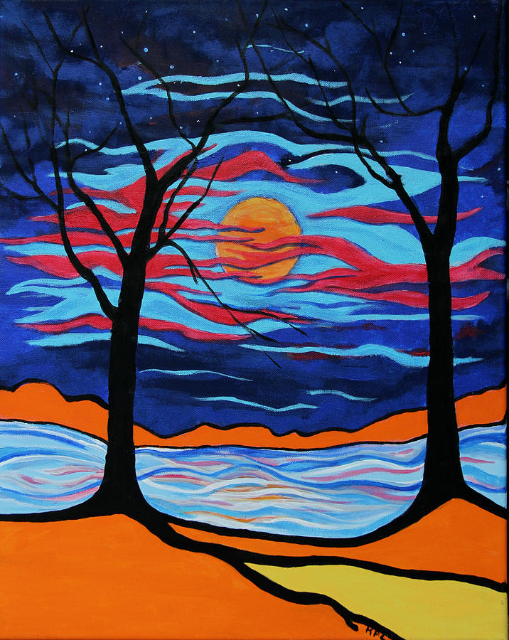 Landscape Painting - The Night Dances by Kathy Peltomaa Lewis