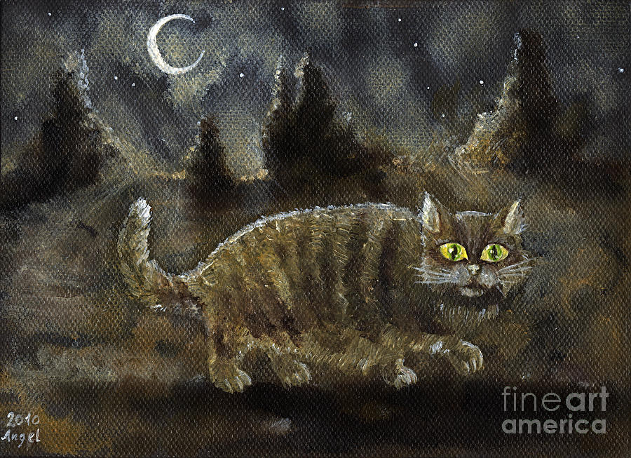 Cat Painting - The Night Stalker by Angel Ciesniarska