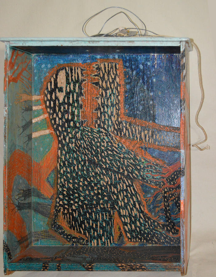 Abstract Modern Outsider Raw Monster Character Eye Face Animal Tail Fingers Painting - The Non-erring Line Is A Papercut - Drawer by Nancy Mauerman