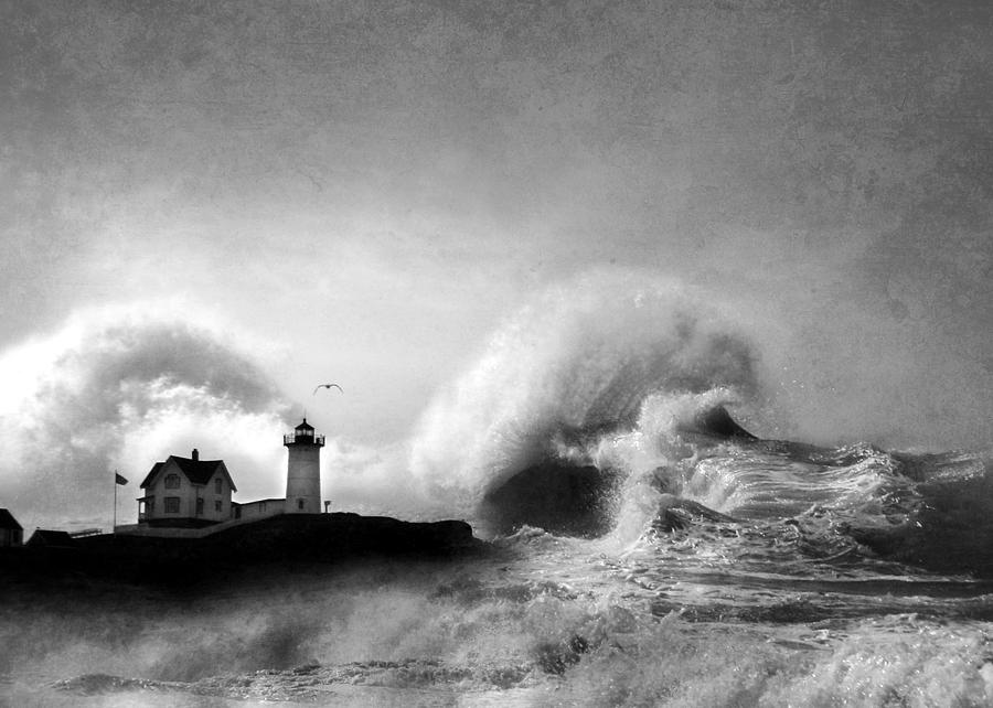 Nubble Lighthouse Photograph - The Nubble In Trouble by Lori Deiter