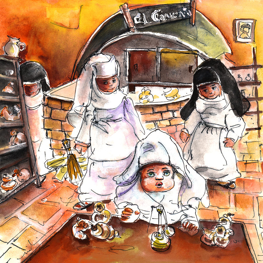 Travel Painting - The Nuns Of Toledo 02 by Miki De Goodaboom