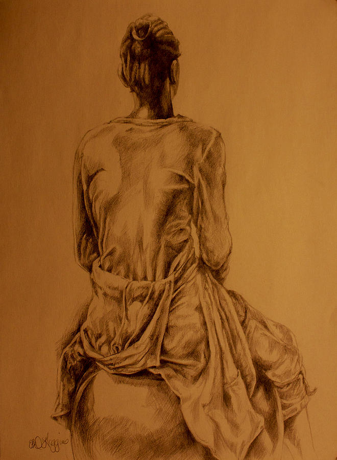 Girl Drawing - The Observer by Derrick Higgins