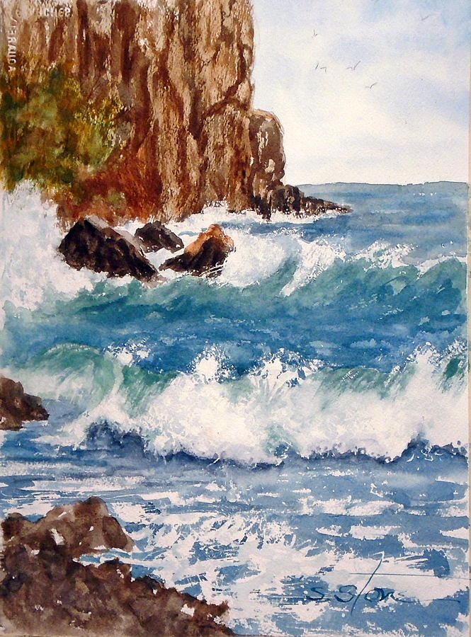 Watercolor Painting - The Ocean Cliffs by Sandra Stone