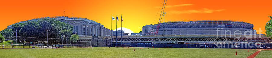 The Old And New Yankee Stadiums Side By Side At Sunset Photograph