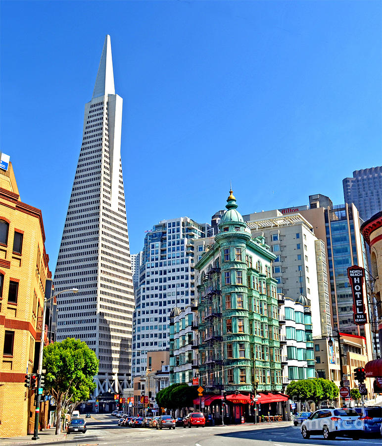 Transamerica Pyramid Photograph - The Old And The New The Columbus Tower And The Transamerica Pyramid II by Jim Fitzpatrick