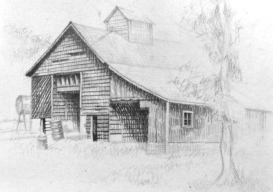 The Old Barn Drawing By Bern Miller