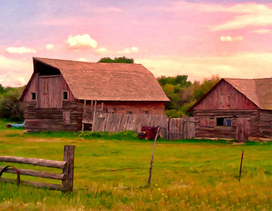 Montana Painting - The Old Barn by Michael Pickett