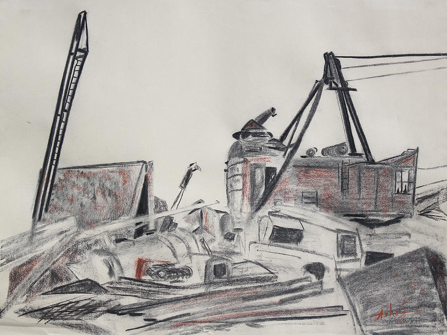 Charcoal Drawing Drawing - The Old Berkeley Marina Junk Heap On A Foggy Day by Asha Carolyn Young