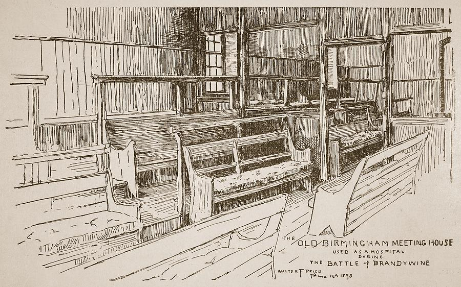 Wooden Drawing - The Old Birmingham Meeting House, 1893 by Walter Price