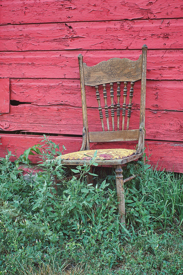 Chair Photograph - The Old Chair And The Red Barn #2 by Nikolyn McDonald