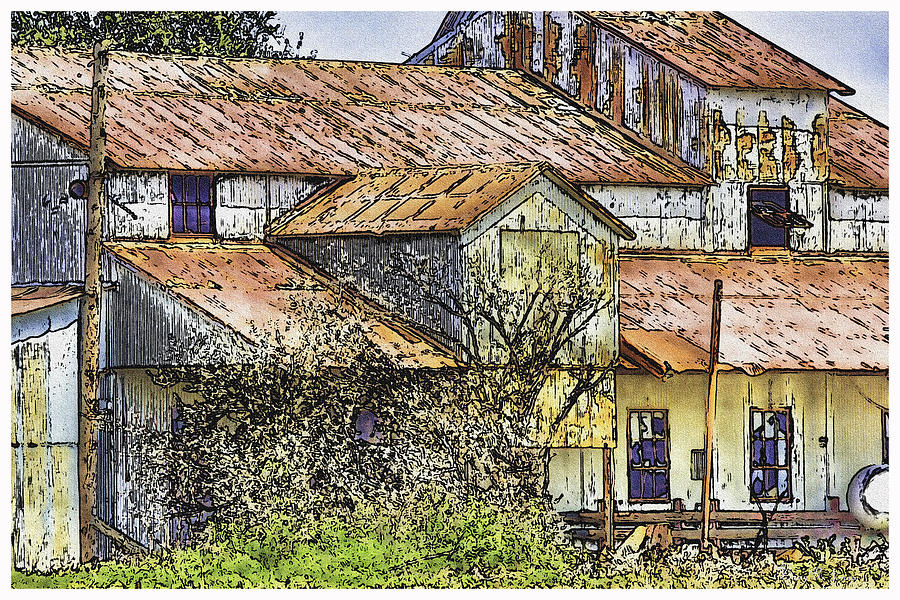 Digital Ink And Wash Painting - The Old Cotton Barn by Barry Jones