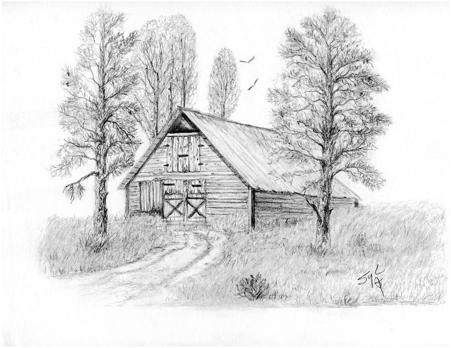 Country Drawing - The Old Country Barn by Syl Lobato