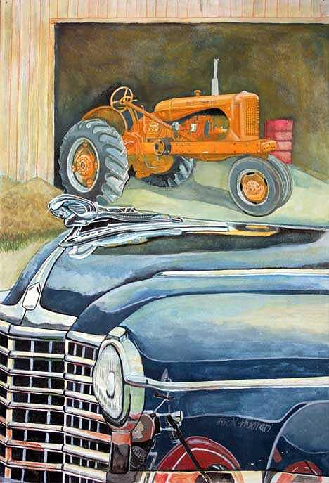 Tractor Painting - The Old Farm by Rick Huotari