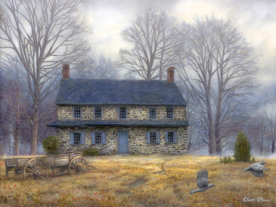 Colonial Painting - The Old Farmhouse by Chuck Pinson