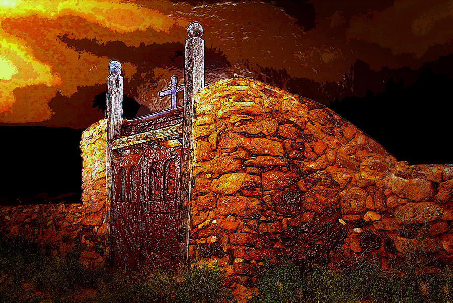 Cemetery Gates Painting - The Old Gates Of Galisteo by David Lee Thompson