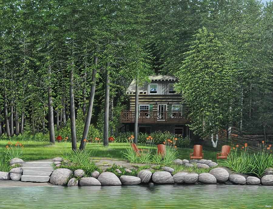 Cabin Painting - The Old Lawg Caybun On Lake Joe by Kenneth M  Kirsch