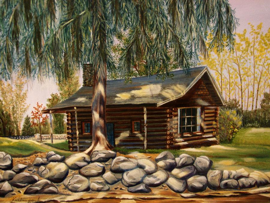 The old log cabin painting by kristina hauk for Log cabin painting