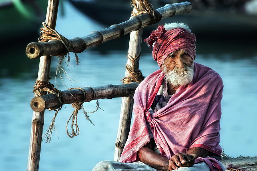 Portrait Photograph - The Old Man And The Ganges by Piet Flour