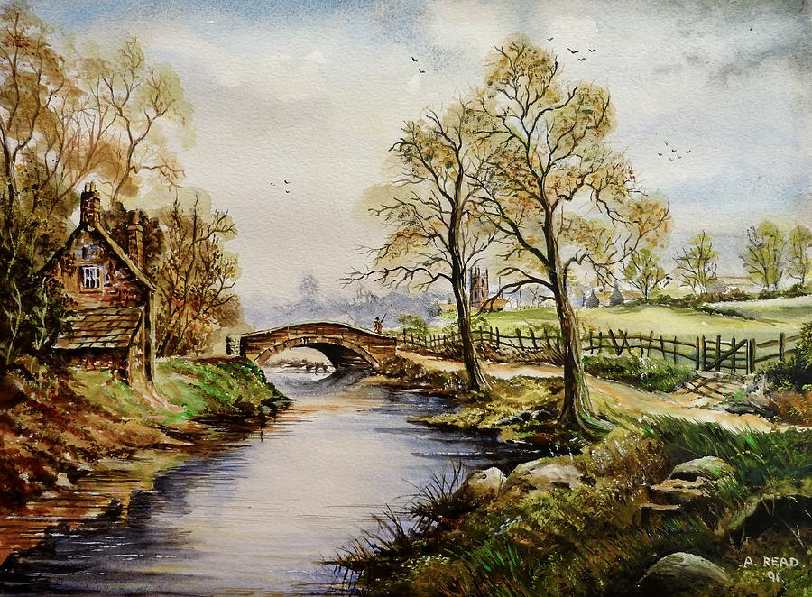 Water Color Painting - The Old Mill Path by Andrew Read