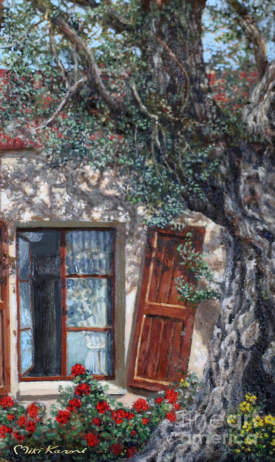 Olive Painting - The Old Olive Tree And The Old House by Miki Karni