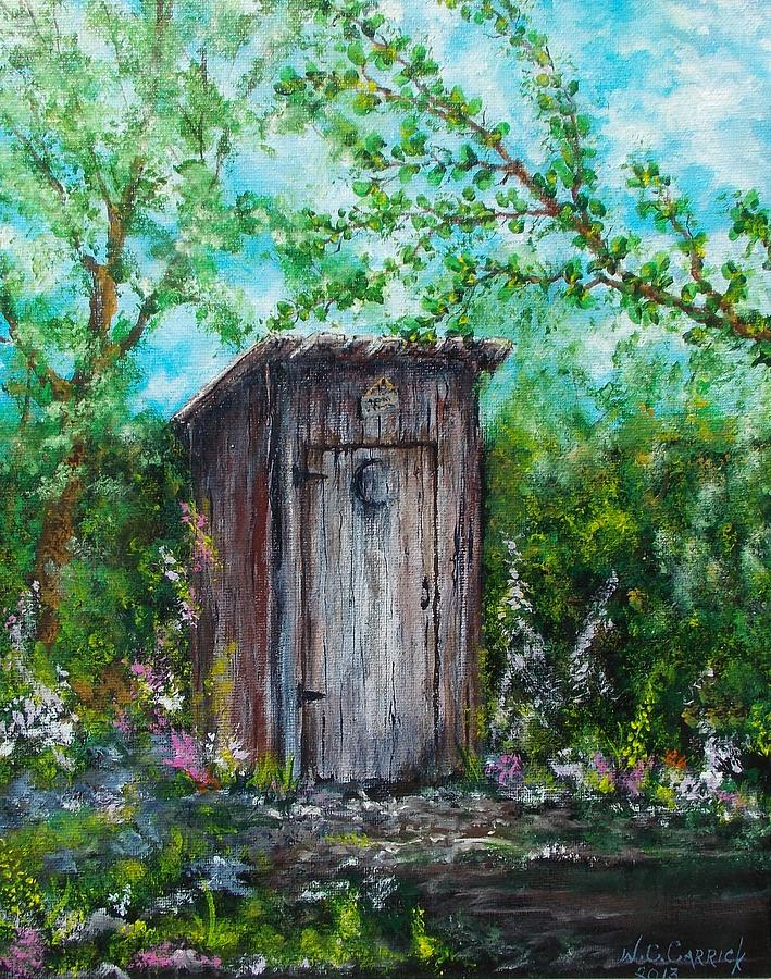 Outhouse Painting - The Old Outhouse by Walter Carrick