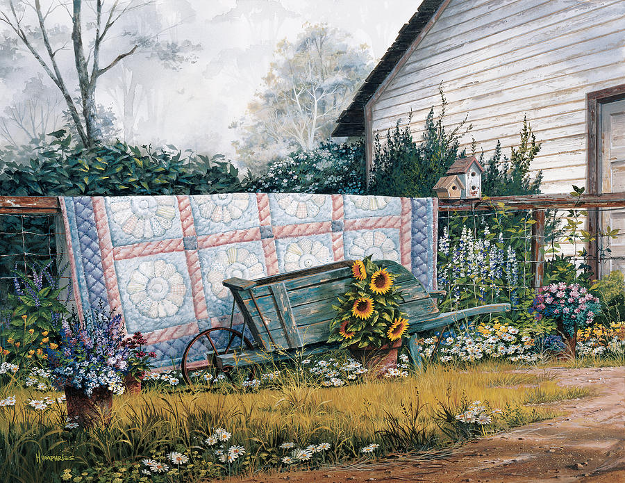 The Old Quilt Painting By Michael Humphries